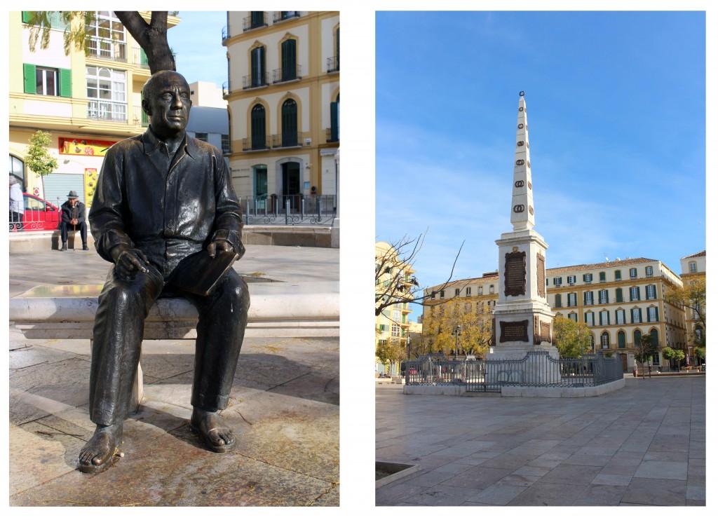 Hacerse una foto en este banco con Picasso, se ha convertido en un 'must'. El obelisco de la Plaza de la Merced es un homenaje al General Torrijos, y a 48 de sus compañeros, fusilados en la playa de La Misericordia.