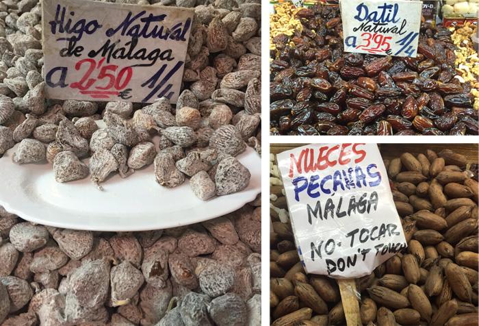 Higos secos de Málaga, dátiles y nueces pacanas